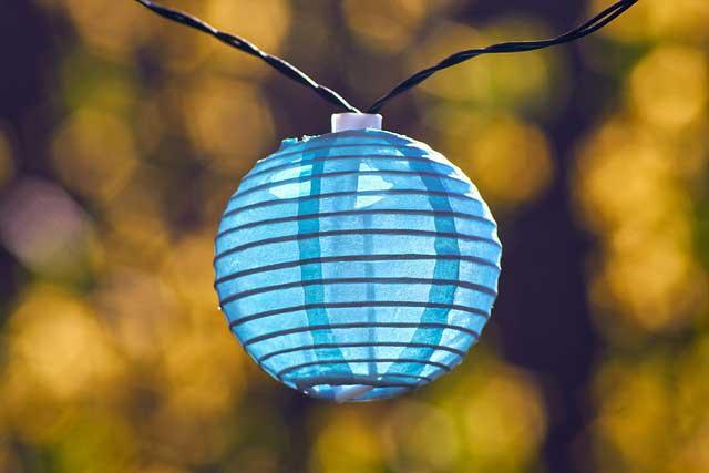Lampion Licht Blau