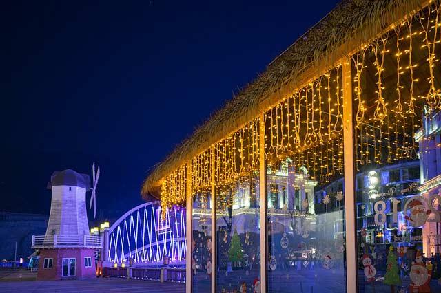 Weihnachtsdeko mit Lichtvorhang