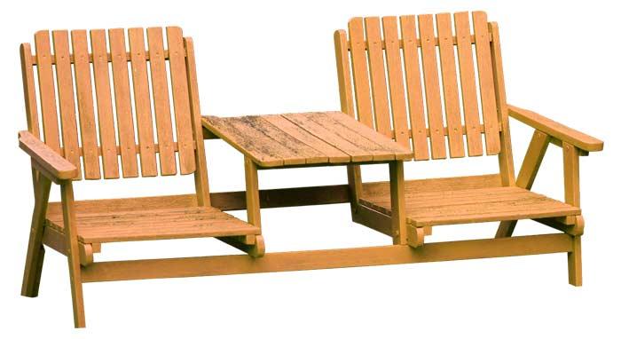 Gartenbank mit großem Tisch für zwei Personen